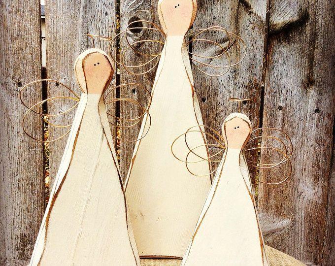 Hout van engelen | Primitieve houten engelen | Gesneden houten rustieke boerderij engelen | Kerstmis | Herinnering cadeau | Home Decor | Valentines | Angel