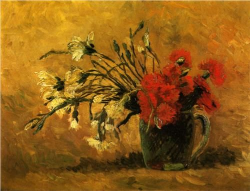Vase with Red and White Carnations on a Yellow Background  - Vincent van Gogh