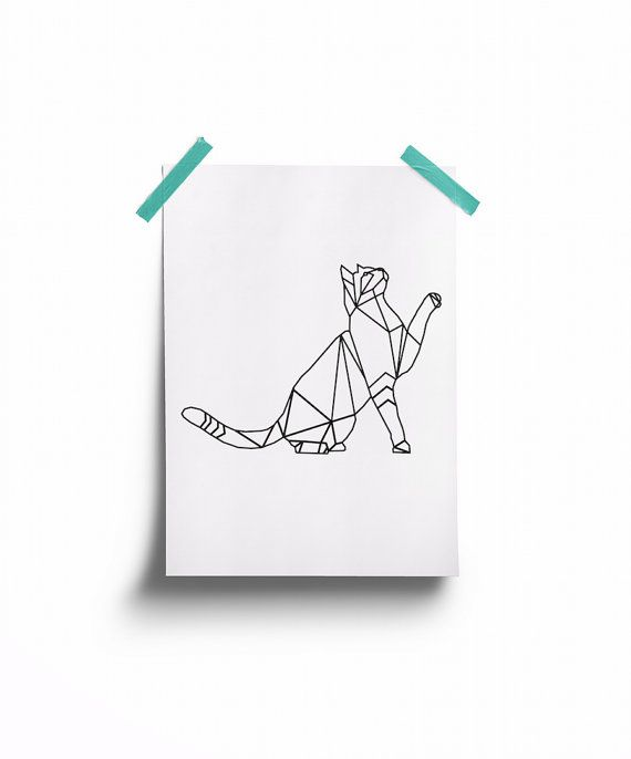 Geometric Cat Print INSTANT DOWNLOAD Wire Cat by tothewoodside