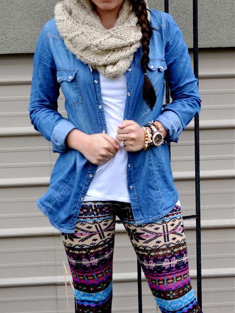 Printed leggings & Chambray... Love!!!