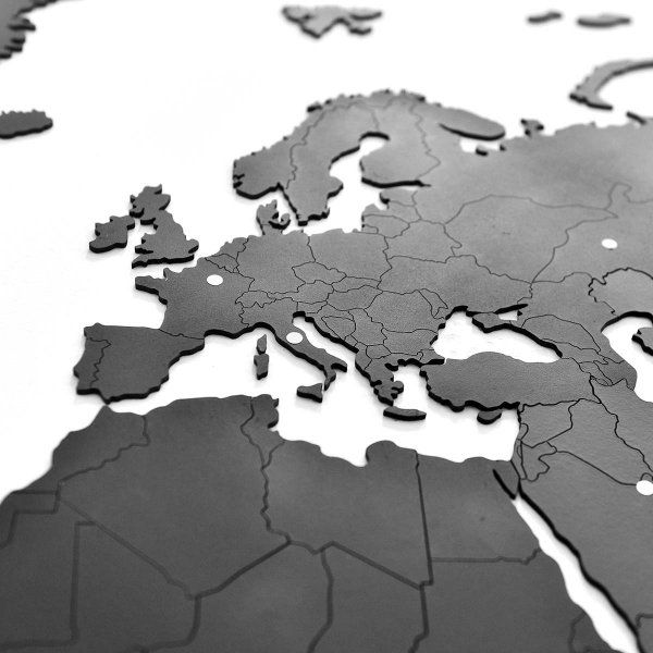 Puzzle Weltkarte aus Holz 100x60cm schwarz