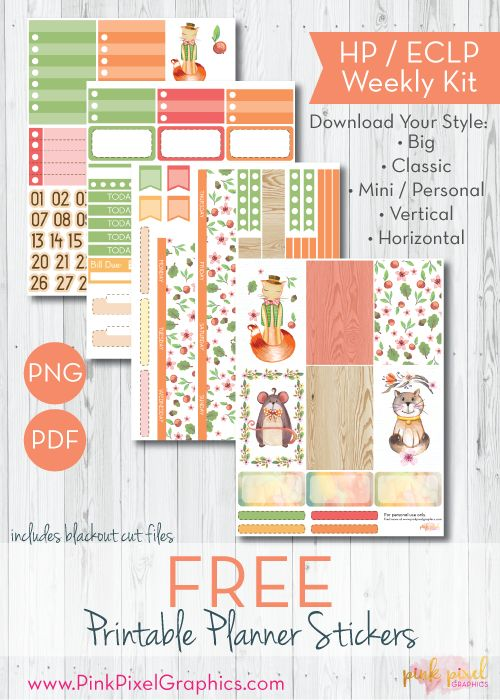 Free Printable Cute Critter Friends Planner Stickers - Print and Cut   Pink Pixel Graphics