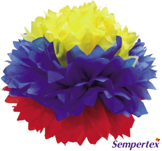 """Pompón Tricolor 14"""" x3"""