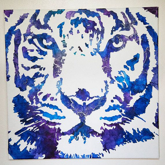 Tiger Melted Crayon Art 24 x 24 by ArtisticJunkie on Etsy, $265.00