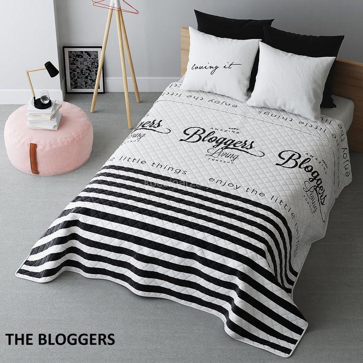 Czarno biała modna narzuta na łóżko