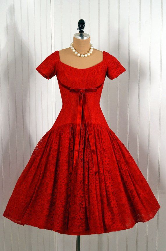 1950's Vintage Red Chantilly-Lace Couture Shelf-Bust Bow