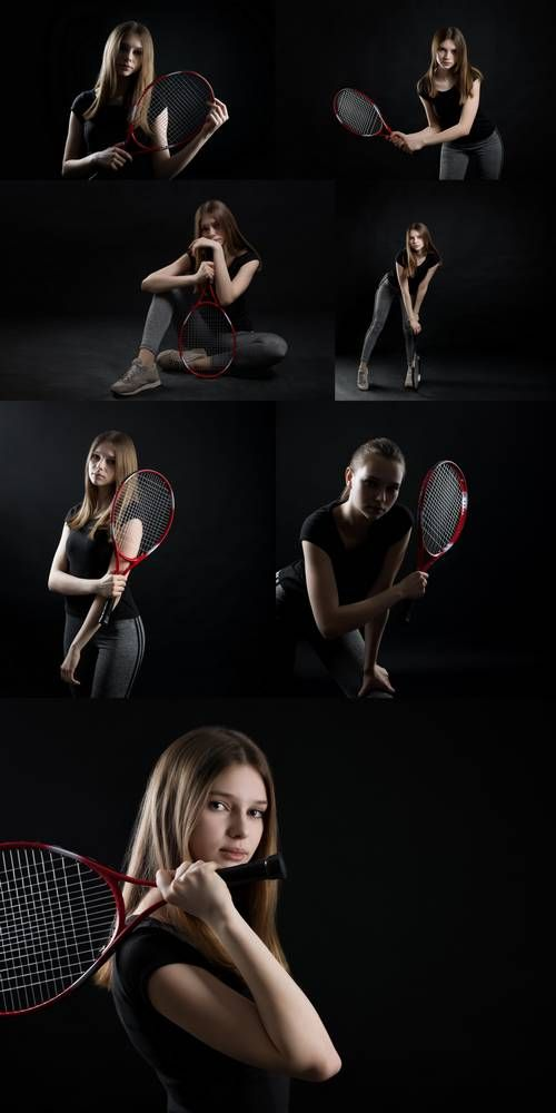 Sporty Teen Girl Tennis Player with Racket