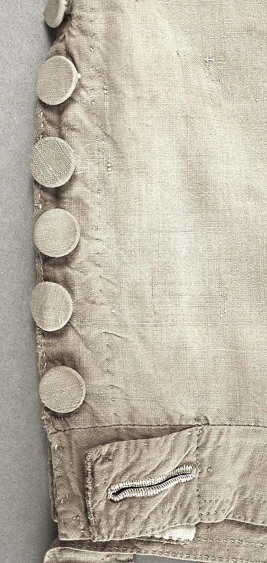 leg detail of cotton (sailor's?) breeches ... ca. 1784-1800