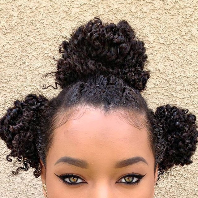 Three Bun Day🌴Used @carolsdaughter Almond Milk conditioner and shampoo, topped with their great almond milk deep conditioner😍 guys let me tell you that my hair came out superrr soft and manageable. My curls were defined as well which is a bonus for a conditioner and deep conditioner. AND my head smelt 💣! Lol 😍😍