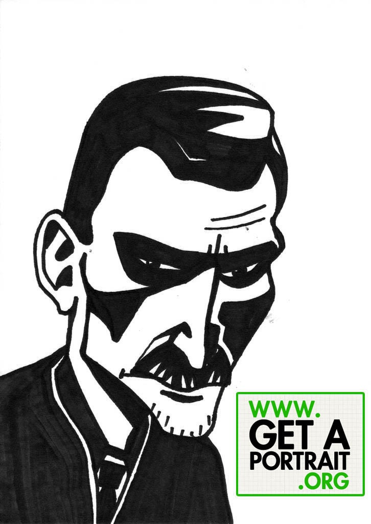Caricature of George Bacovia, Romanian poet — Get a high quality PORTRAIT or CARICATURE from a pro, for an unbeatable price! http://GetAPortrait.org