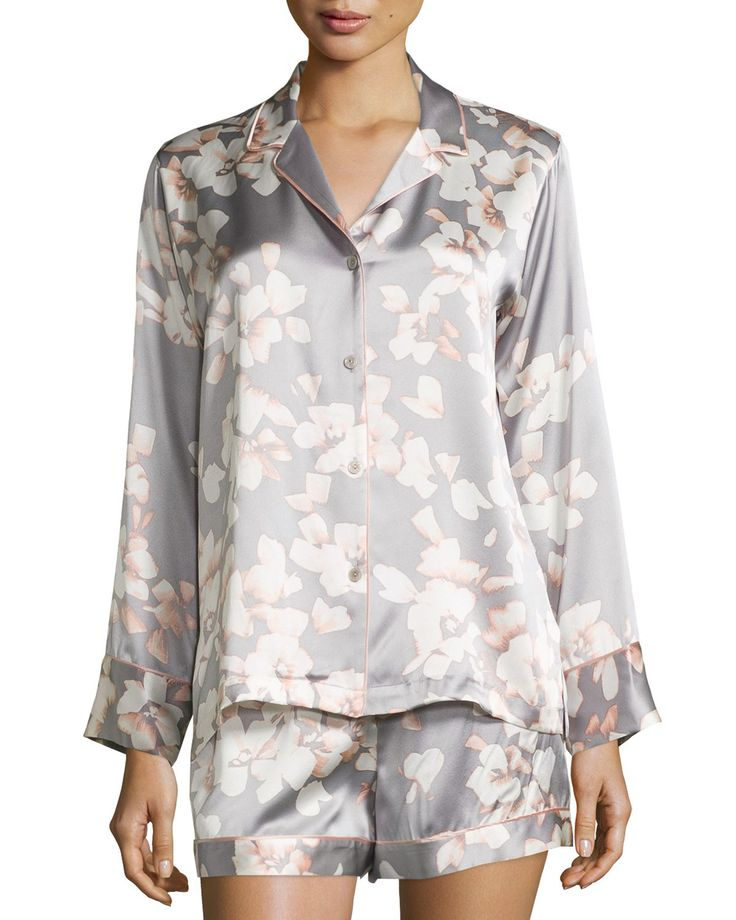 Azalea Printed Shorty Pajama Set Grey Fl Women S Size M Natori