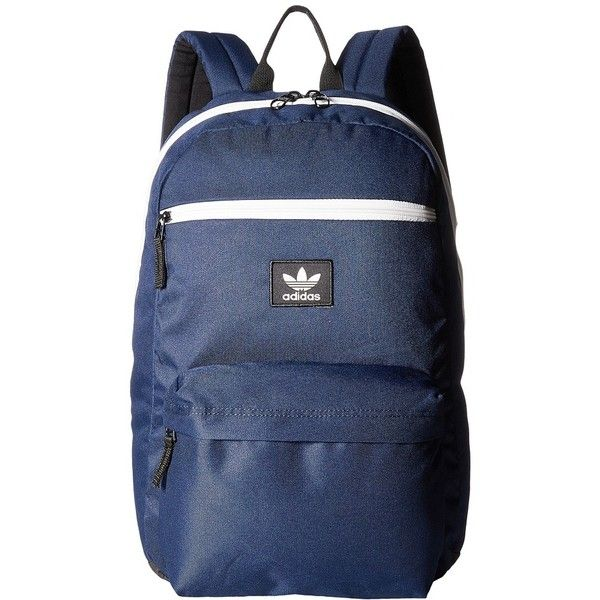 adidas Originals National Backpack (Collegiate Navy/Chalk White)... ($50) ❤ liked on Polyvore featuring bags, backpacks, adidas backpack, laptop rucksack, padded backpack, vertical-zip laptop backpack and laptop backpack