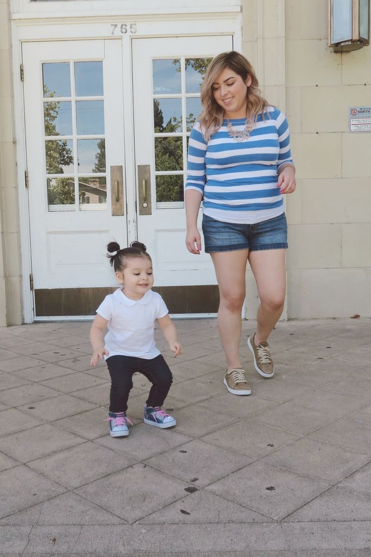 Mommy & Daughter Weekend OOTD Ft. Skechers! – The Blushing Mama  Hello my beauties! Today I'm sharing with you all about Cami's and my weekend style. We like to keep it casual, comfortable and of course cute! Casual OOTD for girl toddler and mommy on the go! Blue jeans, stripped white and blue shirt with jean shorts ft gold skechers.