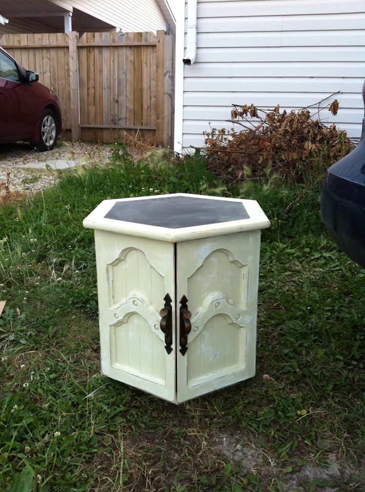 Refinished Buttercream End Table