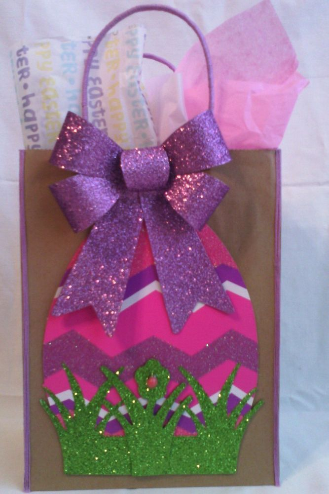 36 best handcrafted easter bags images on pinterest gift bags handmade easter egg gift bag negle Choice Image
