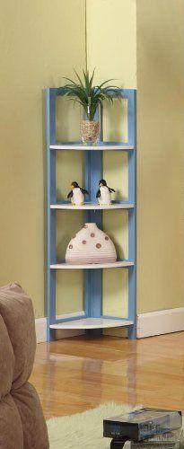 Bester Light Blue White Finish Wood Foldab 29 99 Bedroom Shelvescorner Shelvesplant Standskitchen Storagefurniture