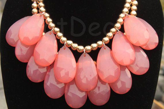 Orange teardrop necklace Statement necklace Bubble by HotDecor, $12.99
