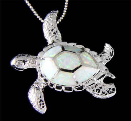 Click Here. Double your traffic. Get Vendio Gallery - Now FREE! Brand new man made (lab created) Opal in solid 925 sterling silver Hawaiian sea turtle pendant Description : - Turtle size: 37.50mm (app
