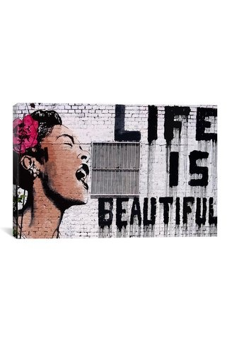 Banksy Life Is Beautiful 18in x 12in Canvas Print