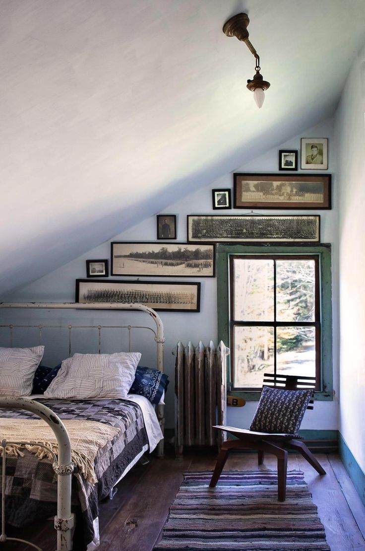 Bedroom in rustic Hudson Valley farmhouse.