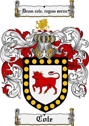 Cole coat of arms cole family crest instant download for Family motto tattoos