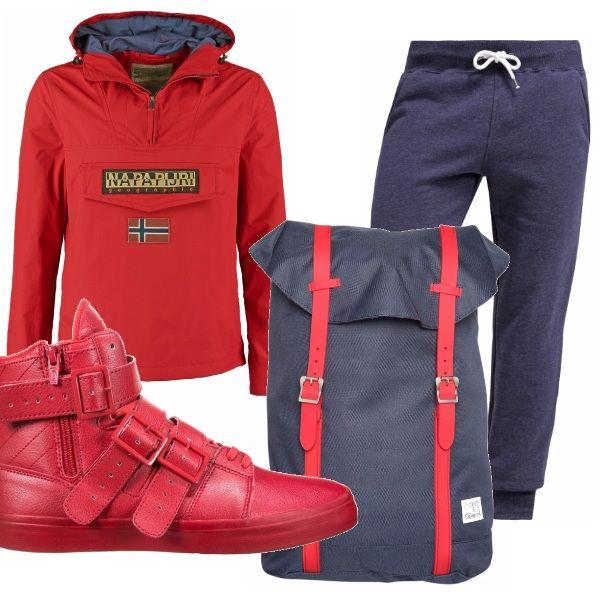 Per un ragazzo o uomo sportivo ma in relax ho pensato ad una felpa rossa, parecchio trendy come brand, un pantalone jogging ed una sneakers molto particolare rossa fuoco ed alta con cinghiette vi piacciono?