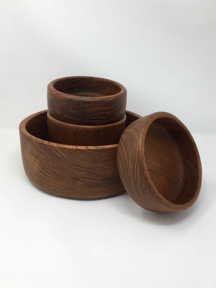 Wooden Bowls, Salad Servers, Wooden Salad Bowl Set, Wood Turned Bowl, Wooden Fruit Bowl, Large Bowl, Wooden Serving Bowls Set, Large Serving by PatinaDetroit on Etsy