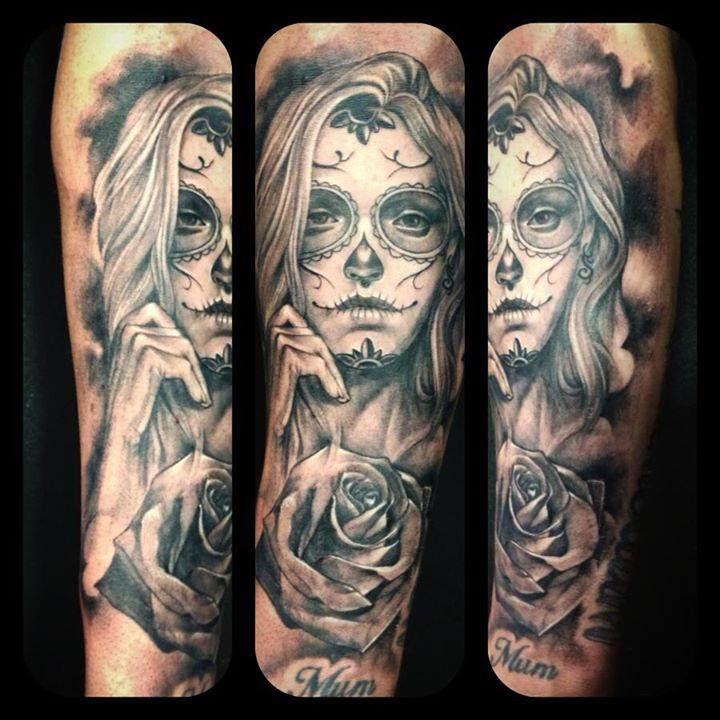 Day Of The Dead Girl Tattoo Monkeytoy Blackandgrey Tattoo Sydney
