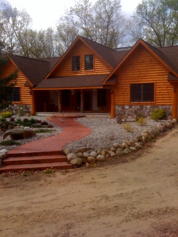 Look how beautiful these 2x8 cedar log siding finished project.