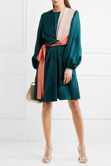 Roksanda - Gyda Twist-front Color-block Silk-twill Dress - Petrol - UK12