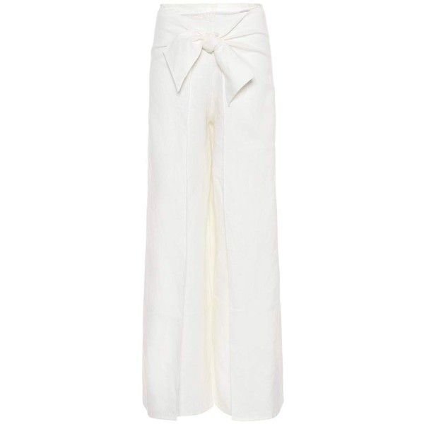 Johanna Ortiz Monterrey Linen Trousers (1.987.615 COP) ❤ liked on Polyvore featuring pants, white, white linen pants, linen trousers, white linen trousers, white trousers and linen pants