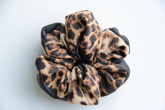 Leopard Animal Print Hair Scrunchie Chouchou by KHandmadeHK, $12.00