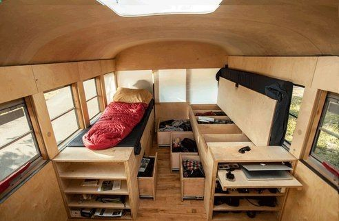 ingenious way to convert sleeping space combined with storage place. 3 photos to view of a bus conversation