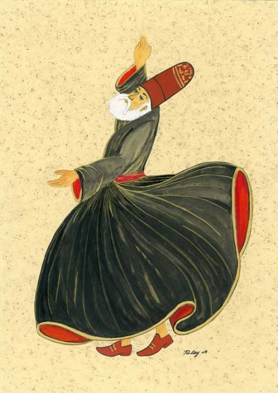Turkish Dancing Dervish. This is the kind of meditative dance Rumi liked to do