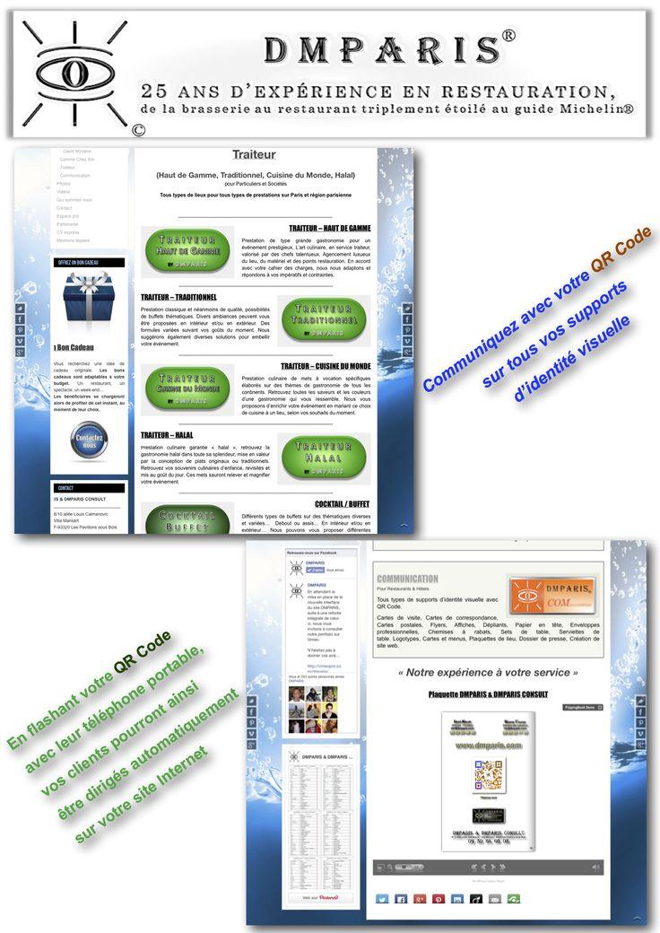 Création de site web parallax. Création de supports d'identité visuelle avec QR Code.
