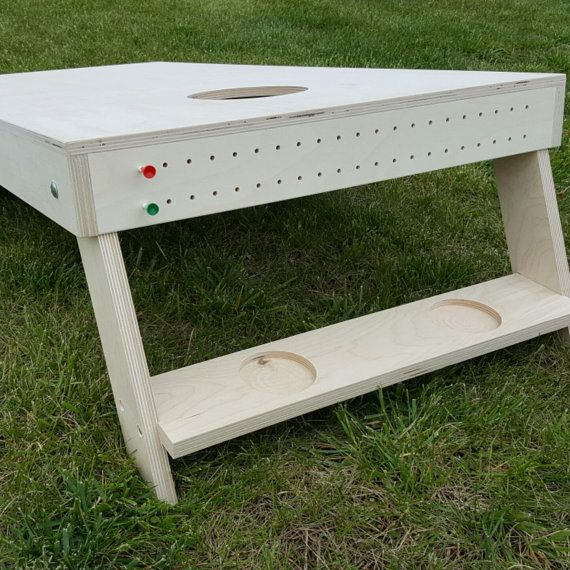 Cornhole Boards with Built in Score Boards.  Why carry all the items when you can have it all together.