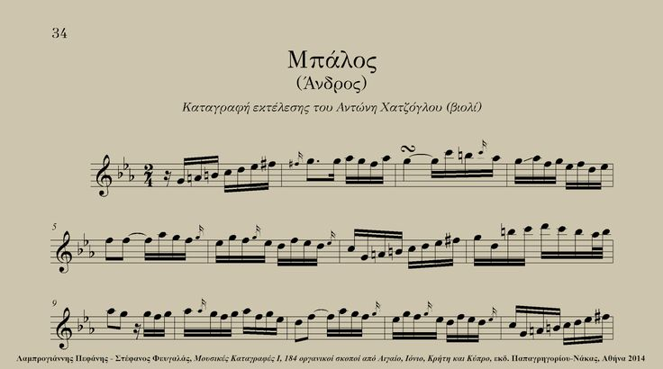 Mpalos (Andros, Greece) - Antonis Chatzoglou (violin) Excerpt from: Lamprogiannis Pefanis - Stefanos Fevgalas, Musical Transcriptions I - 184 instrumental tunes from the Aegean and Ionian Seas, Crete and Cyprus, ed. Papagrigoriou-Nakas, Athens 2014