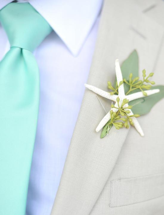 Wedding Inspiration:  Beach Wedding Starfish Boutenniere