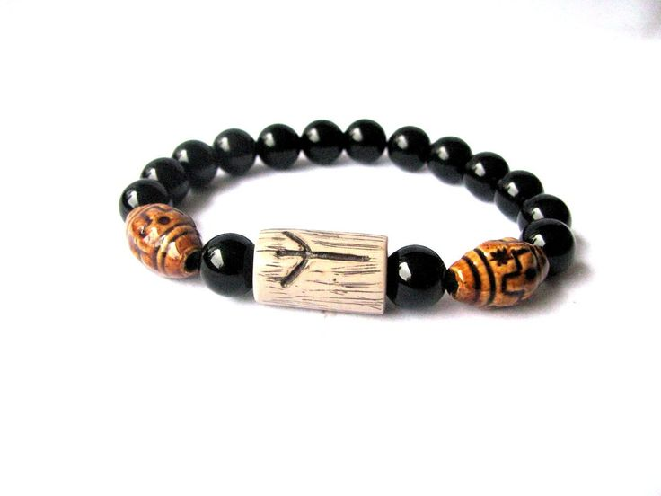 Excited to share the latest addition to my #etsy shop: Men bracelet, Black Onyx bracelet, Protection bracelet for him, Bracelet for men, Jewelry for men, Viking bracelet, Black bracelet for him #jewelry #bracelet #black #porcelainceramic #boys #onyx #brown #luck http://etsy.me/2tM16aY