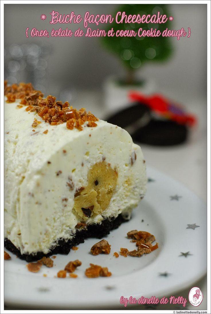 Buche de Noel façon cheesecake sans cuisson { Biscuit Oreo, éclats de daim et coeur Cookie dough }   La Dinette de Nelly