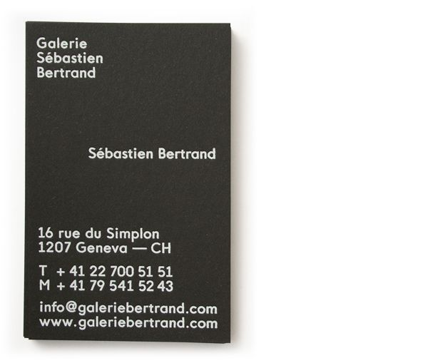 Logo and business card with white ink detail designed by Neo Neo for Sébastien Bertrand contemporary art gallery