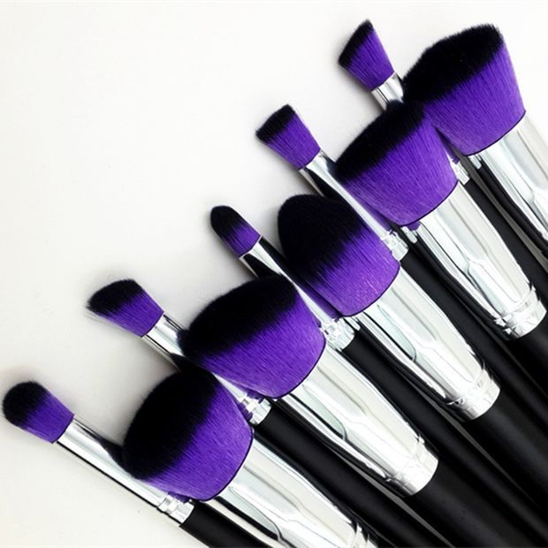 Party Queen 10pcs Premium Synthetic Purple Brush Hair Kabuki Makeup Brush Set Cosmetics Foundation Blending Liquid, Cream & Mineral Contouring Blush Eyeliner Face Powder Brush Makeup Brush Kit (Black + Silver Handle)