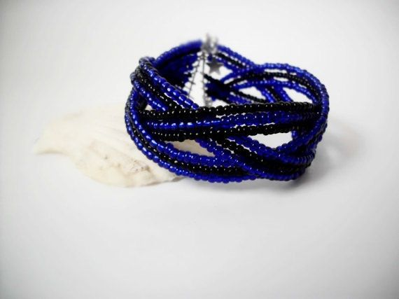 Cobalt blue and black bracelet/Cuff by Theworldofjewelry on Etsy, $10.00