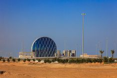 Abu Dhabi, UAE: from desert sands rises modern architecture. stock photo