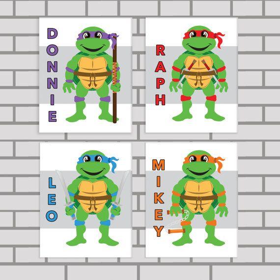 ninja turtles art print set toddler room decor por dcastudio 3400