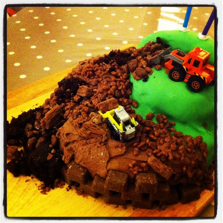 My little boys 2nd Birthday cake for his party tomorrow! We had such fun making it and the beauty of this cake is not much can go wrong....the messier the better!!