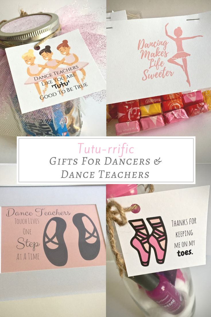 Gifts for dancers and dance teachers and instructors with free printable tags on www.FrugalFloridaMom.com.