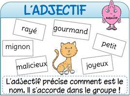 Affichages de français sujet verbe nom déterminant adjectif