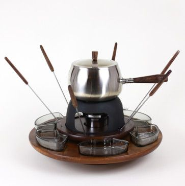 Lazy Susan Fondue Set, Chrome and Walnut - midcentury - specialty cookware - Audrey Would!
