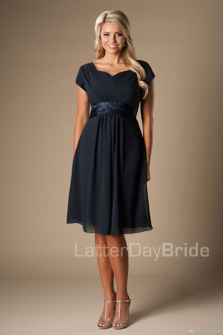 Best 25 teenage bridesmaid dresses ideas on pinterest blush navy blue short modest bridesmaid dresses with short sleeves chiffon knee length maids of honor dresses ombrellifo Image collections